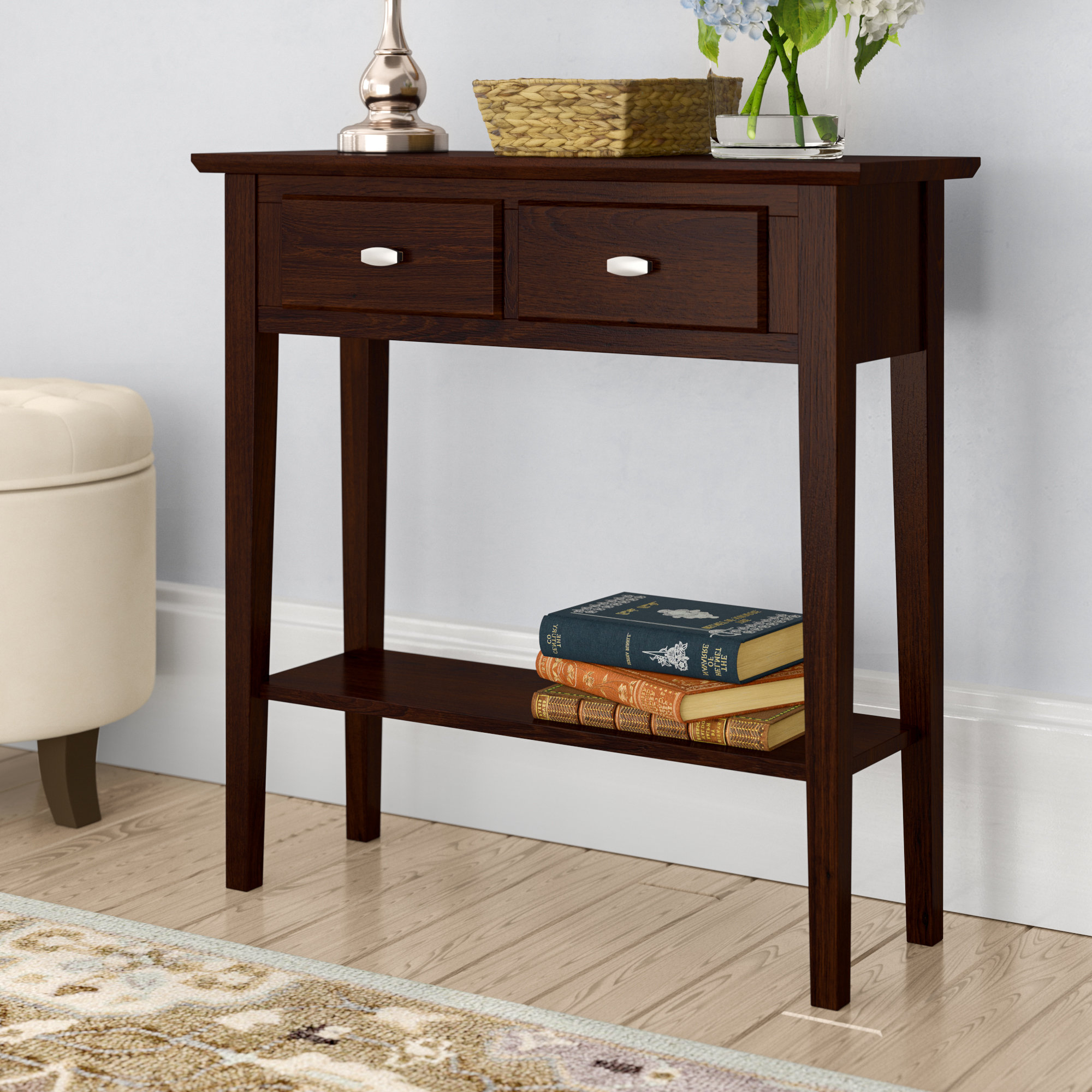 Narrow Low Console Table | Wayfair With Layered Wood Small Square Console Tables (View 3 of 20)