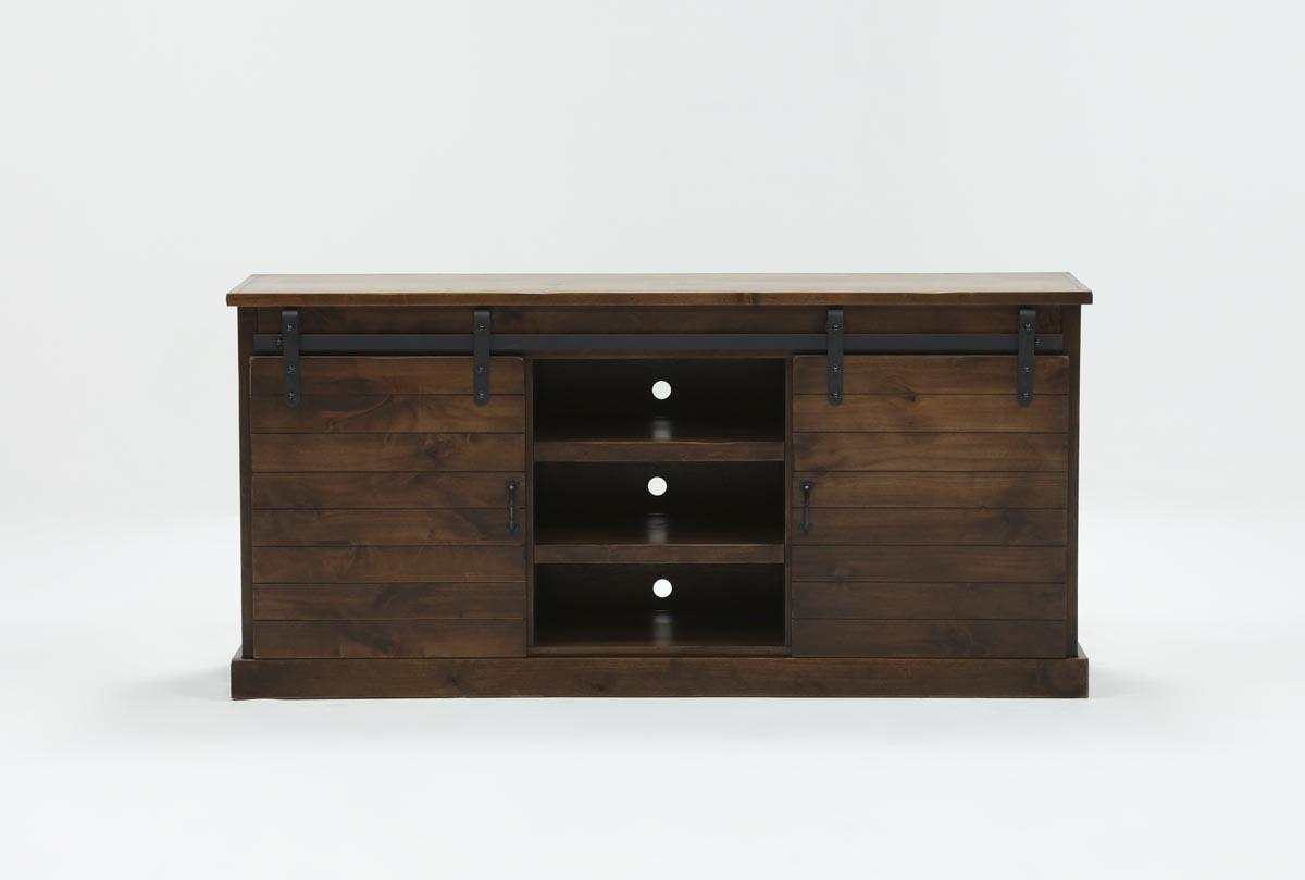 Noah Aged Whiskey 66 Inch Tv Stand | Living Spaces Throughout Noah Rustic White 66 Inch Tv Stands (View 6 of 20)