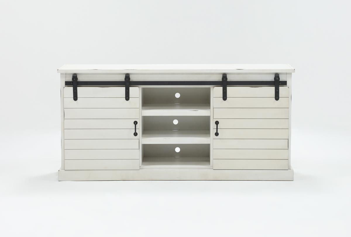 Noah Rustic White 66 Inch Tv Stand | Living Spaces Inside Sinclair White 74 Inch Tv Stands (View 18 of 20)
