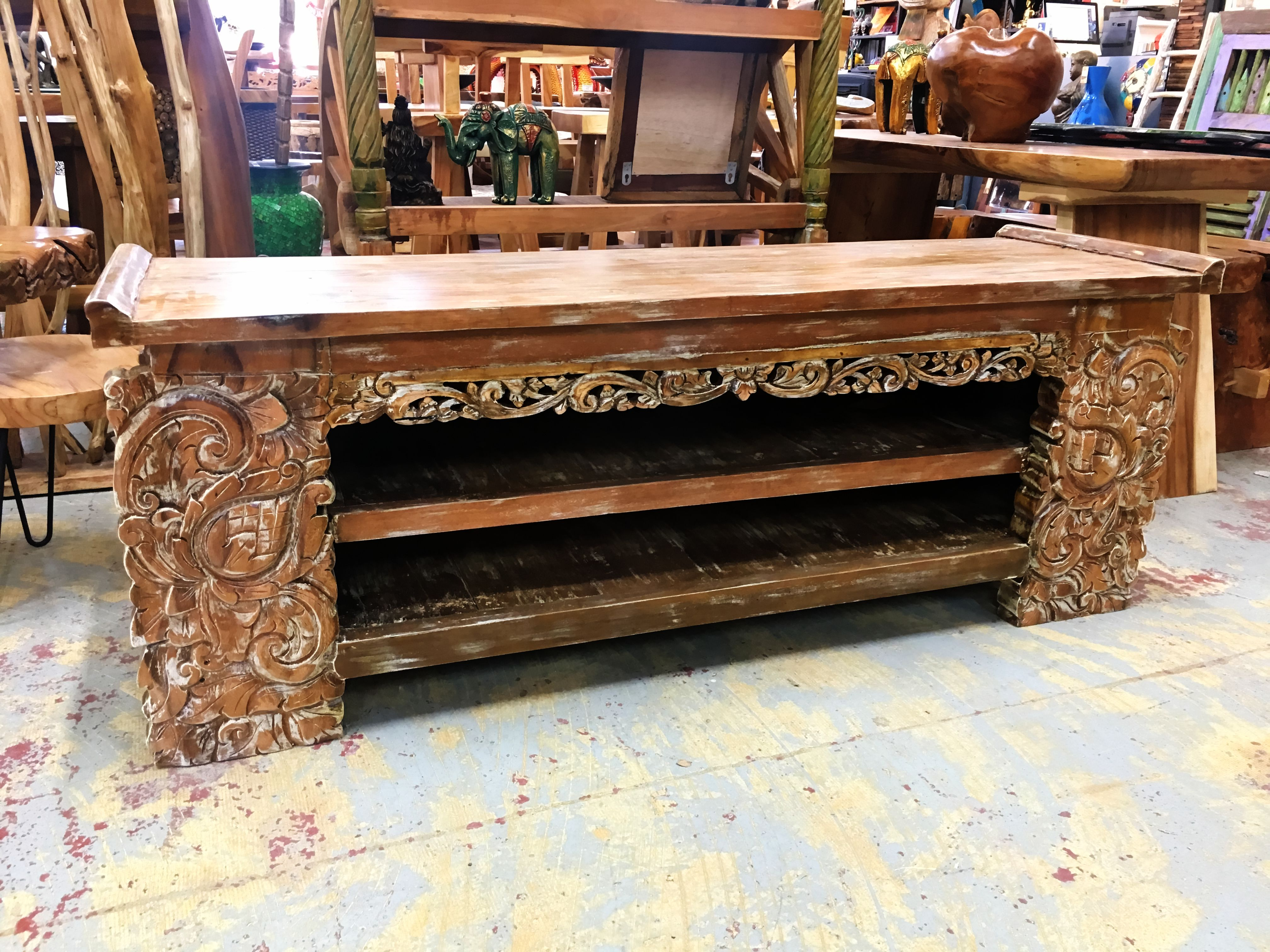 Open Face Hand Carved Console Table – Primefurniturehouston Within Hand Carved White Wash Console Tables (View 2 of 20)
