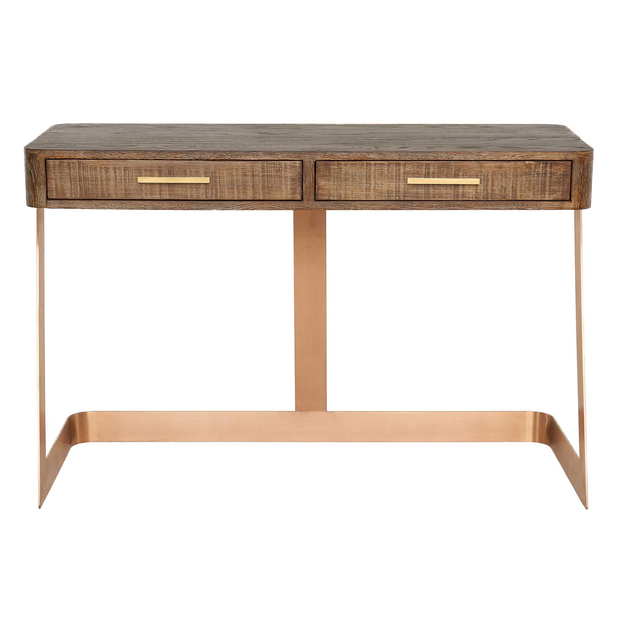 Oregon Desk, Mid Burnt Oak | Desks | Home Office Pertaining To Burnt Oak Metal Sideboards (View 10 of 20)