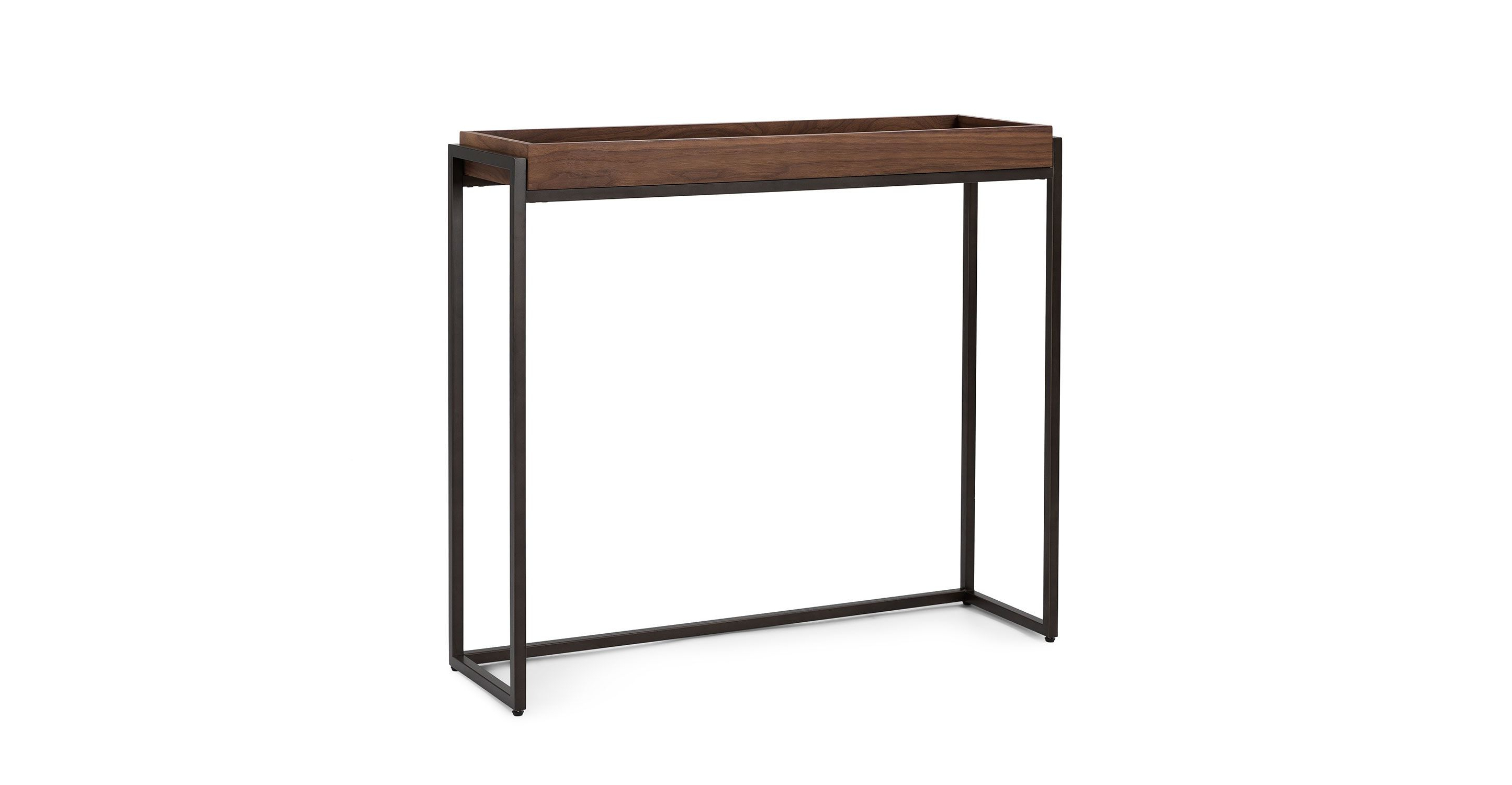 Oscuro Walnut Console Regarding Parsons Clear Glass Top & Brass Base 48X16 Console Tables (View 10 of 20)