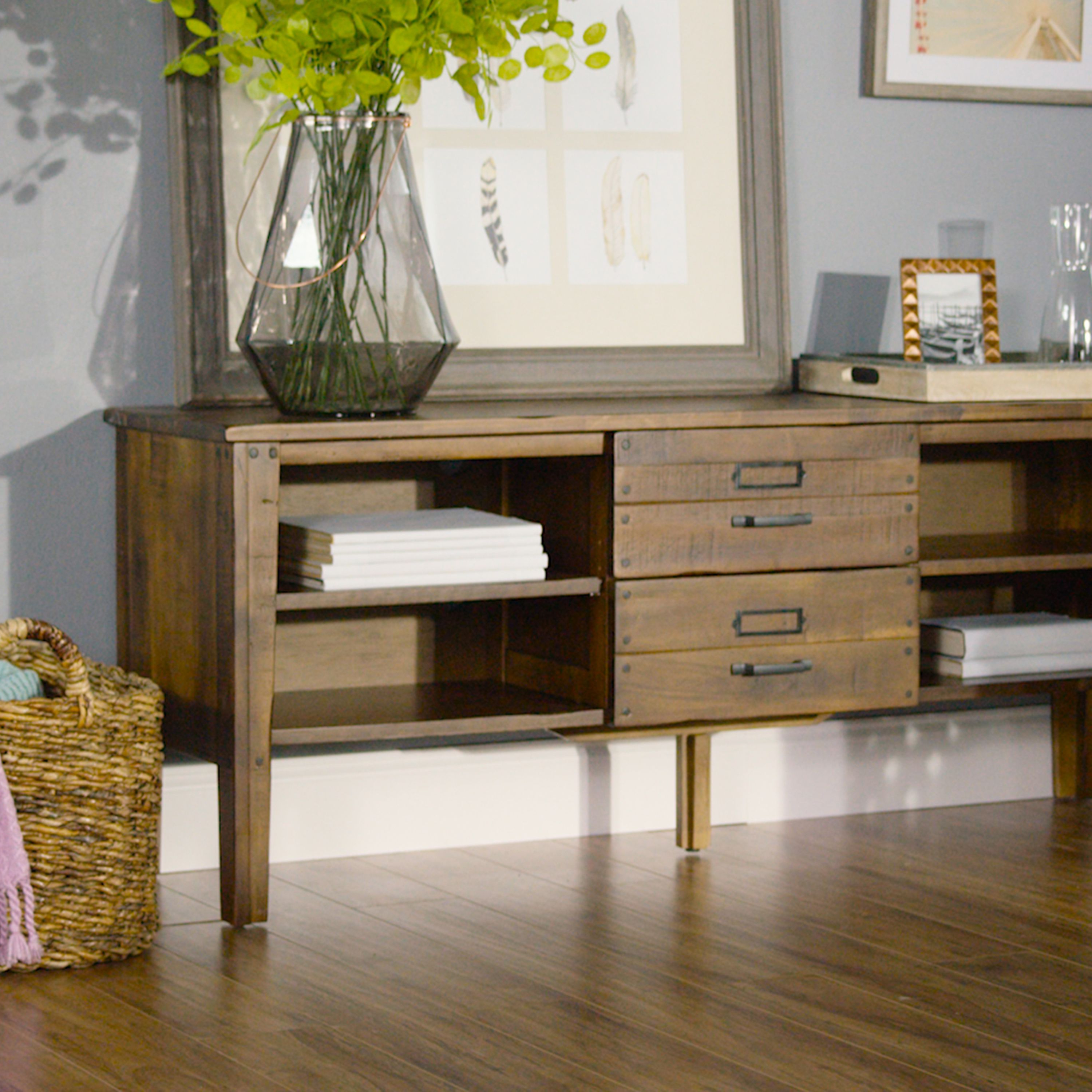 Our Roland Media Stand Is Crafted In Thailand Of Recycled Acacia Throughout Walters Media Console Tables (View 11 of 20)
