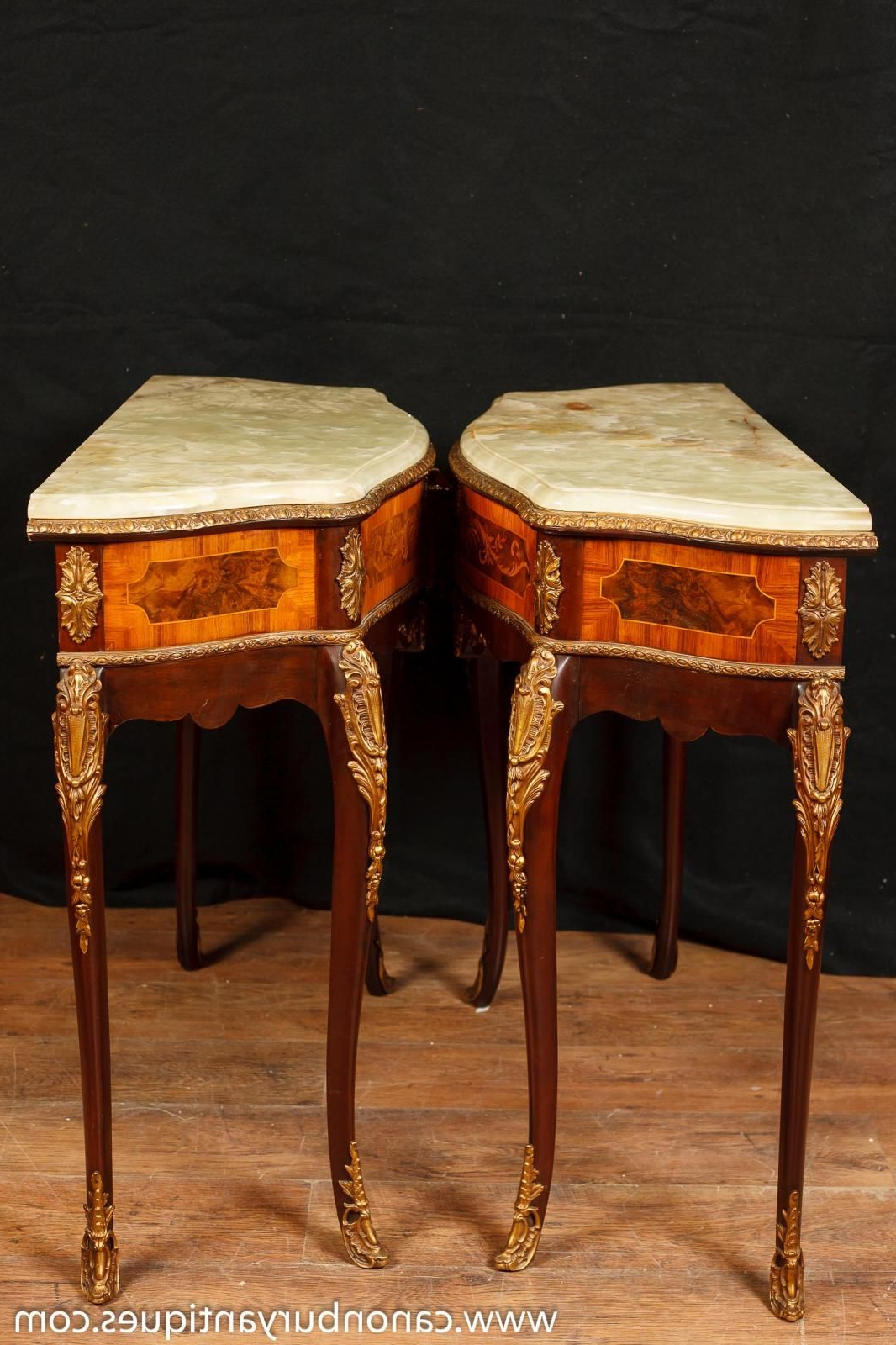 Pair Of Antique French Napoleon Ii Side Console Tables With Onyx Top In Orange Inlay Console Tables (View 19 of 20)
