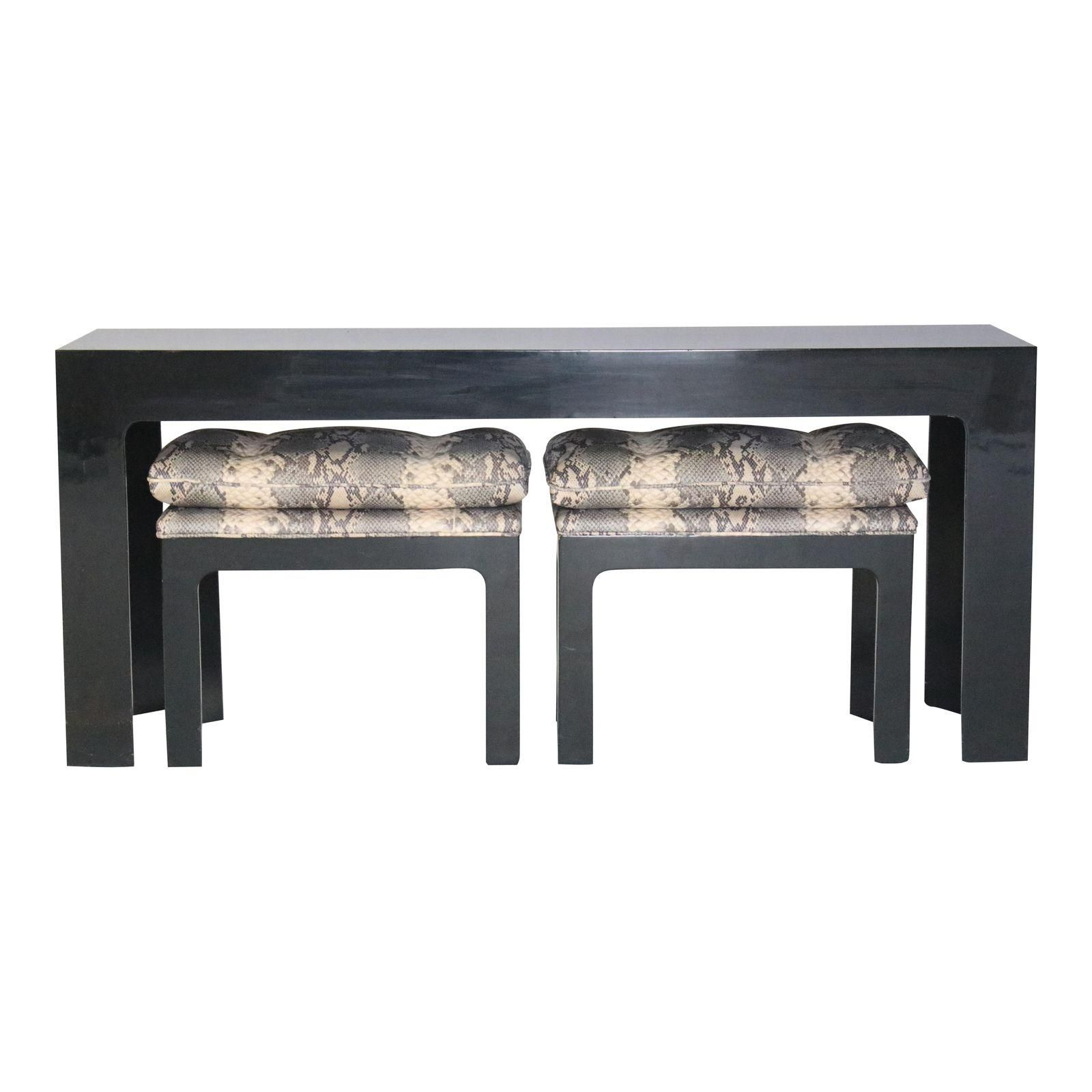 Parson Style Black Lacquered Console Table And Benches | Lakefront Inside Balboa Carved Console Tables (Gallery 4 of 20)