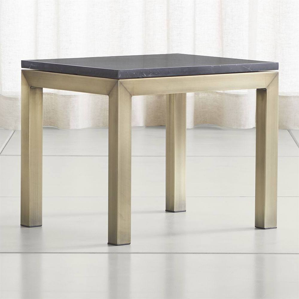 Parsons Black Marble Top/ Brass Base 20x24 End Table | Products For Elke Marble Console Tables With Brass Base (View 8 of 20)