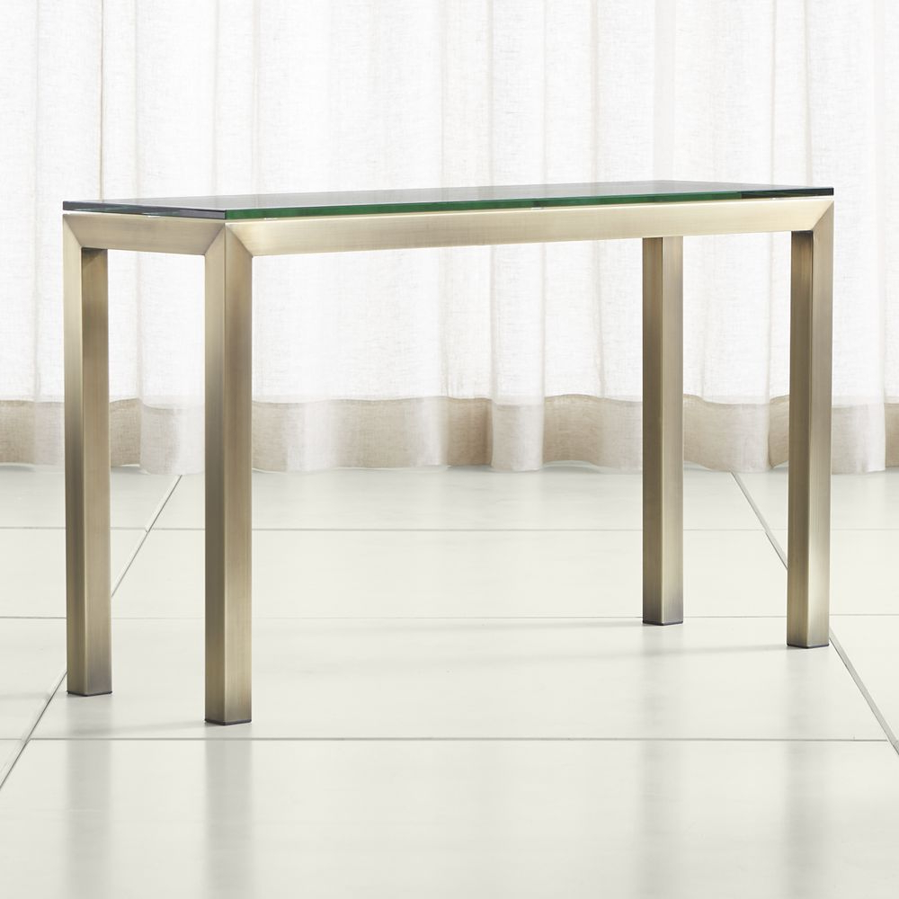 Parsons Clear Glass Top/ Brass Base 48X16 Console | Products Regarding Parsons Walnut Top & Brass Base 48X16 Console Tables (Gallery 1 of 20)