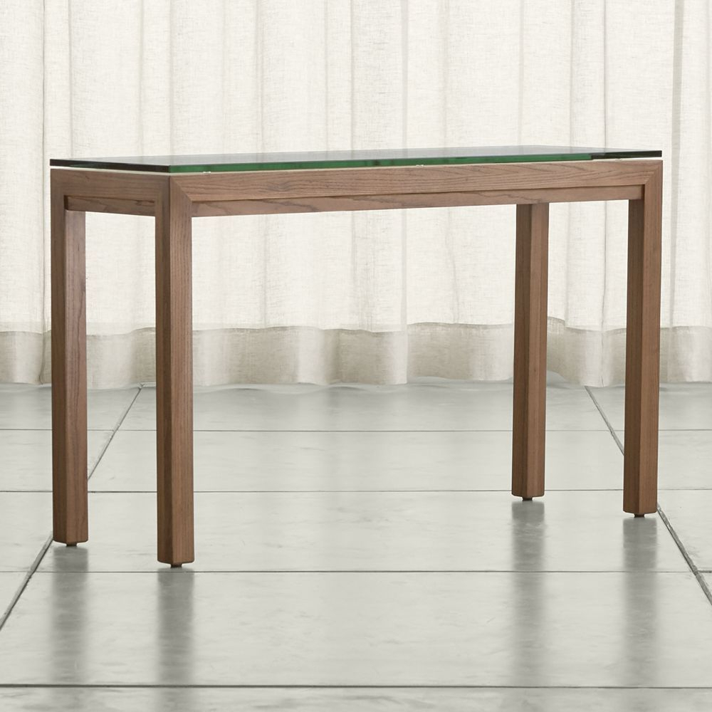 Featured Photo of Parsons Clear Glass Top & Stainless Steel Base 48X16 Console Tables