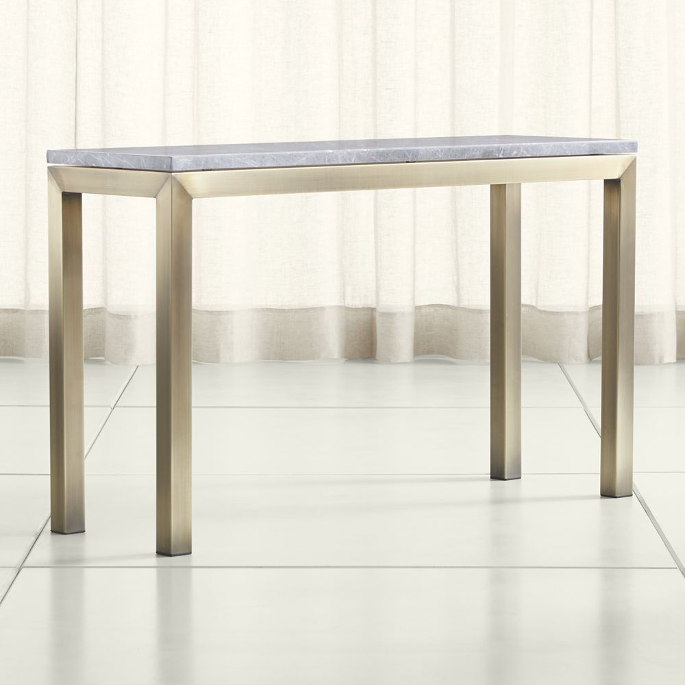 Parsons Grey Marble Top/ Brass Base 48X16 Console | Marble Top And With Regard To Parsons Concrete Top & Stainless Steel Base 48X16 Console Tables (View 15 of 20)