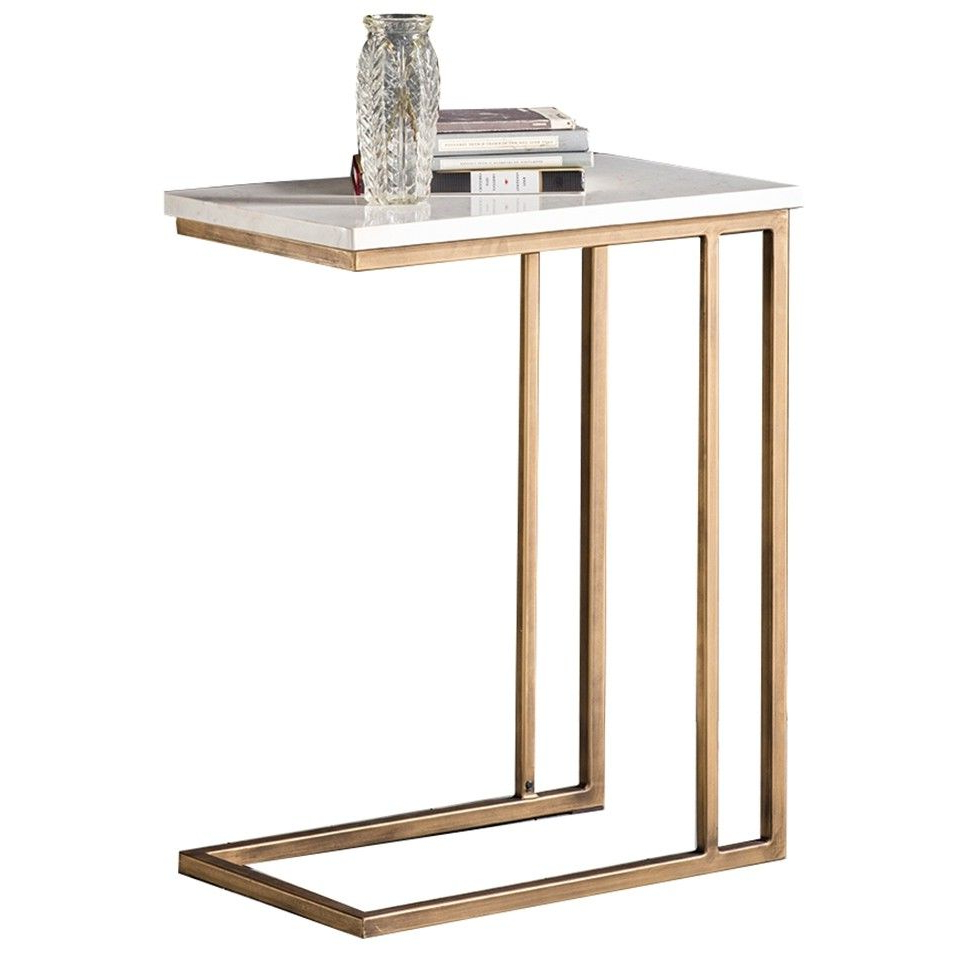 Parsons Grey Solid Surface Top/ Brass Base 48x16 Console In Parsons Grey Marble Top & Dark Steel Base 48x16 Console Tables (View 20 of 20)