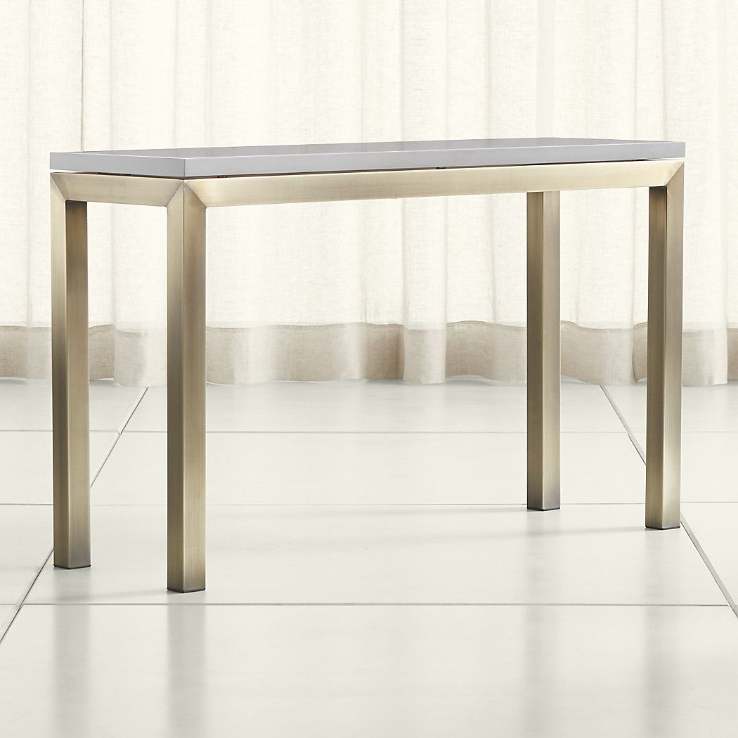 Parsons Grey Solid Surface Top/ Brass Base 48X16 Console Within Parsons Grey Marble Top & Dark Steel Base 48X16 Console Tables (View 12 of 20)