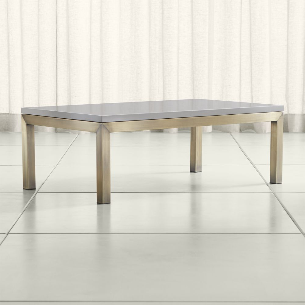 Parsons Grey Solid Surface Top/ Brass Base 48x28 Small Rectangular For Parsons Grey Marble Top & Dark Steel Base 48x16 Console Tables (View 4 of 20)