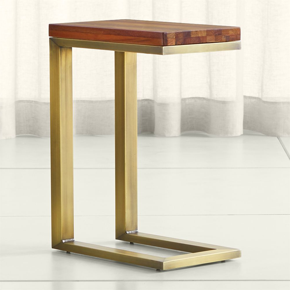 Parsons Reclaimed Wood Top/ Brass Base 20X12 C Table | Products In Elke Glass Console Tables With Polished Aluminum Base (View 15 of 20)
