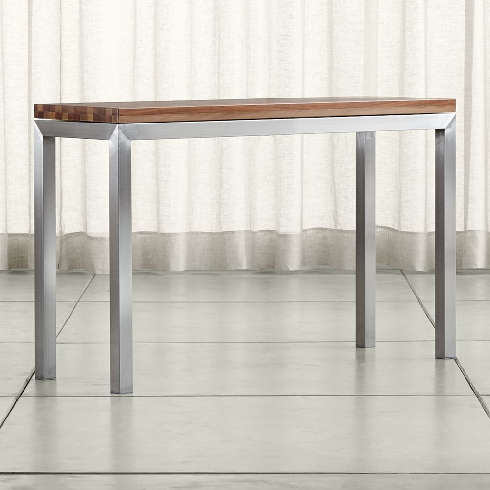 Parsons Reclaimed Wood Top/ Stainless Steel Base 48x16 Console Throughout Parsons White Marble Top & Stainless Steel Base 48x16 Console Tables (View 7 of 20)