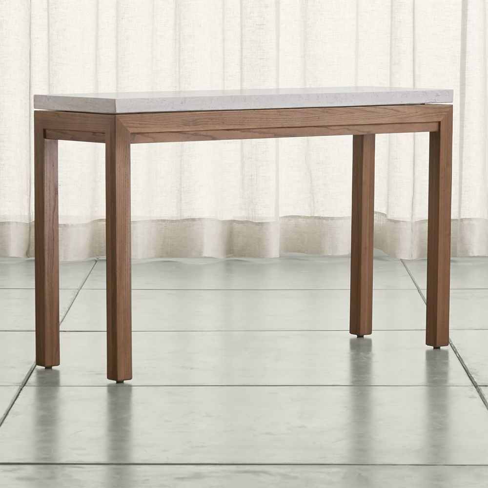 Parsons Travertine Top/ Elm Base 48x16 Console | Products Regarding Parsons Black Marble Top & Stainless Steel Base 48x16 Console Tables (View 2 of 20)