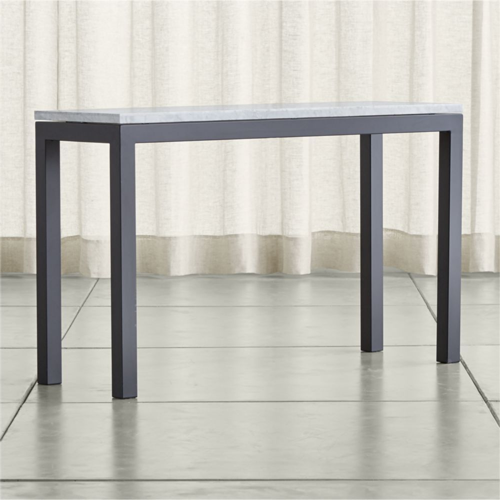 Parsons White Marble Top/ Dark Steel Base 48X16 Console | Products Intended For Parsons Walnut Top & Dark Steel Base 48X16 Console Tables (Gallery 1 of 20)