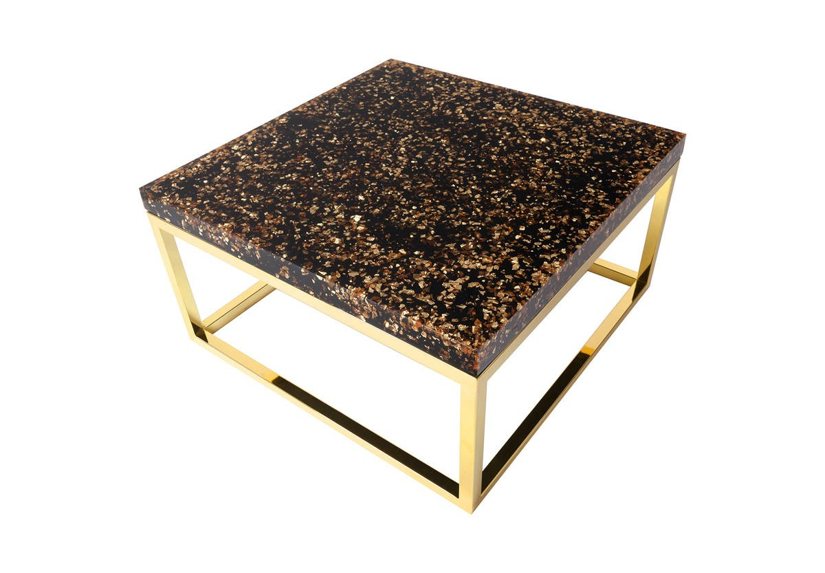 Phillips Collection Captured Gold Flake Coffee Table Th81360 Regarding Phillip Brass Console Tables (View 9 of 20)
