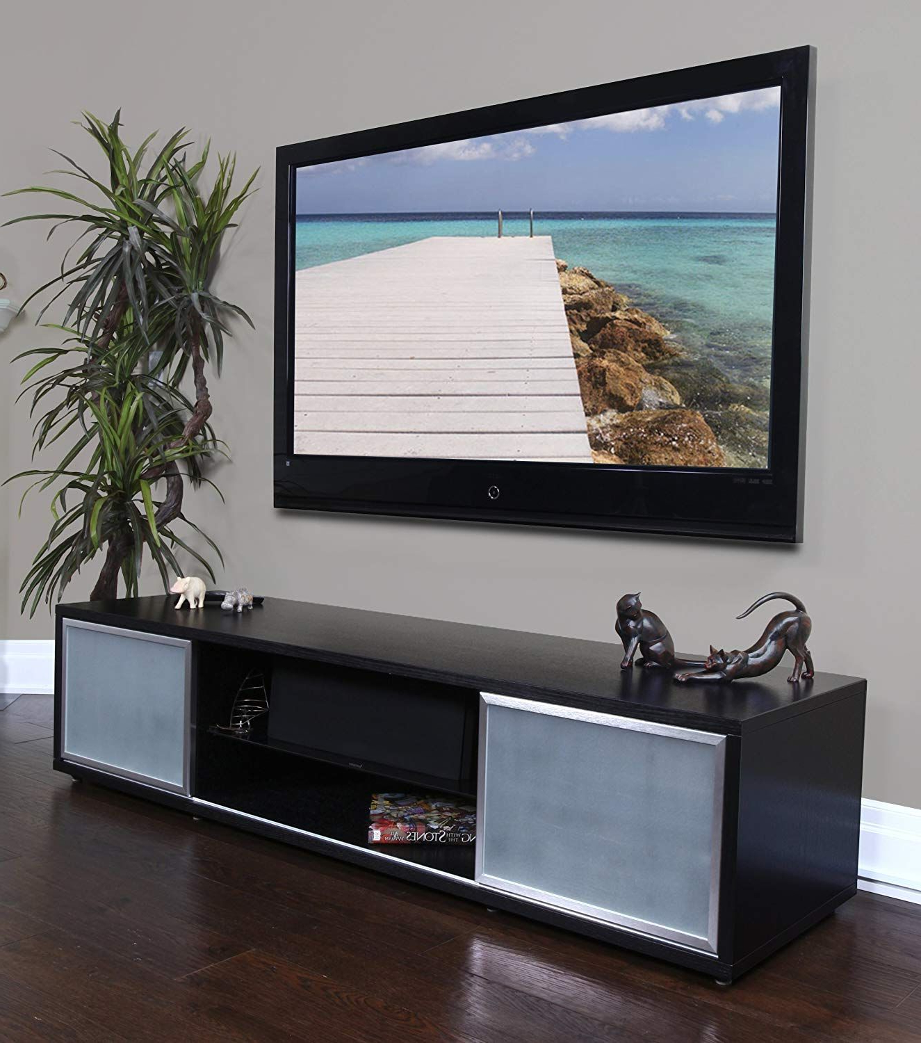 Plateau Sr V 75 Bb S Wood 75 Tv Stand, Black Oak Finish, Silver Inside Valencia 70 Inch Tv Stands (View 9 of 20)