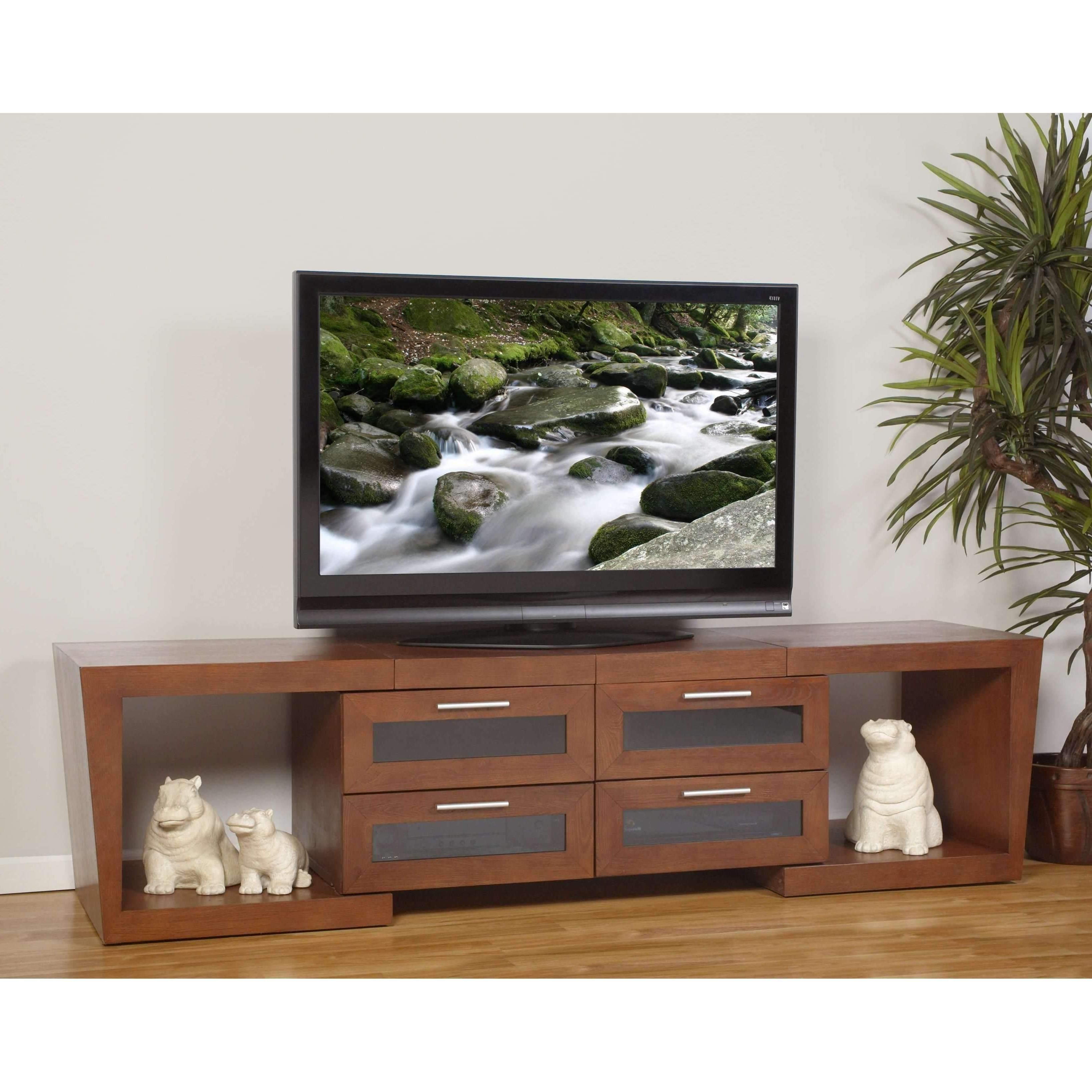 "Plateau Valencia 5187 W Wood Expandable 51"" – 87"" Tv Stand, Walnut In Valencia 70 Inch Tv Stands (View 8 of 20)"