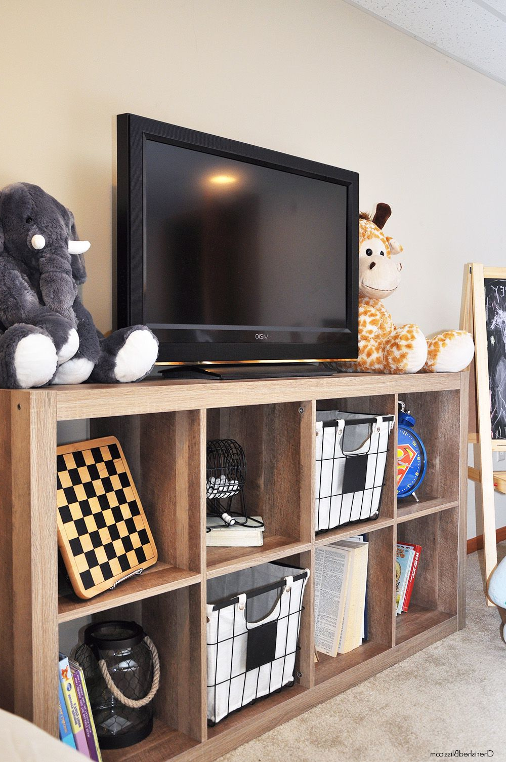 Playroom Progress | Bloggers' Best Diy Ideas | Pinterest | Playroom Throughout Kenzie 72 Inch Open Display Tv Stands (View 16 of 20)