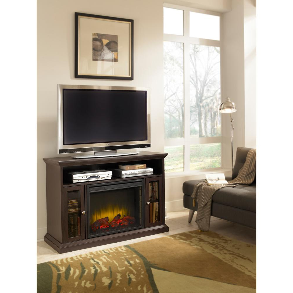 Pleasant Hearth Riley 47 In. Electric Fireplace Tv Stand Media With Sinclair Grey 54 Inch Tv Stands (Gallery 20 of 20)