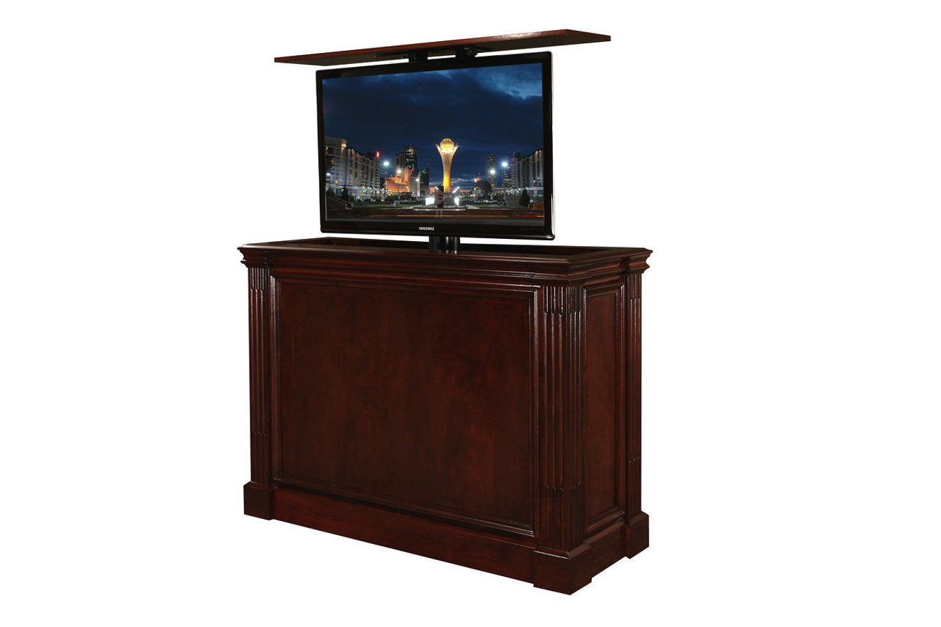 Pop Up Tv Stand | Ritz Cabernet Custom Retractable Tv Stand Pertaining To Vista 68 Inch Tv Stands (View 6 of 20)