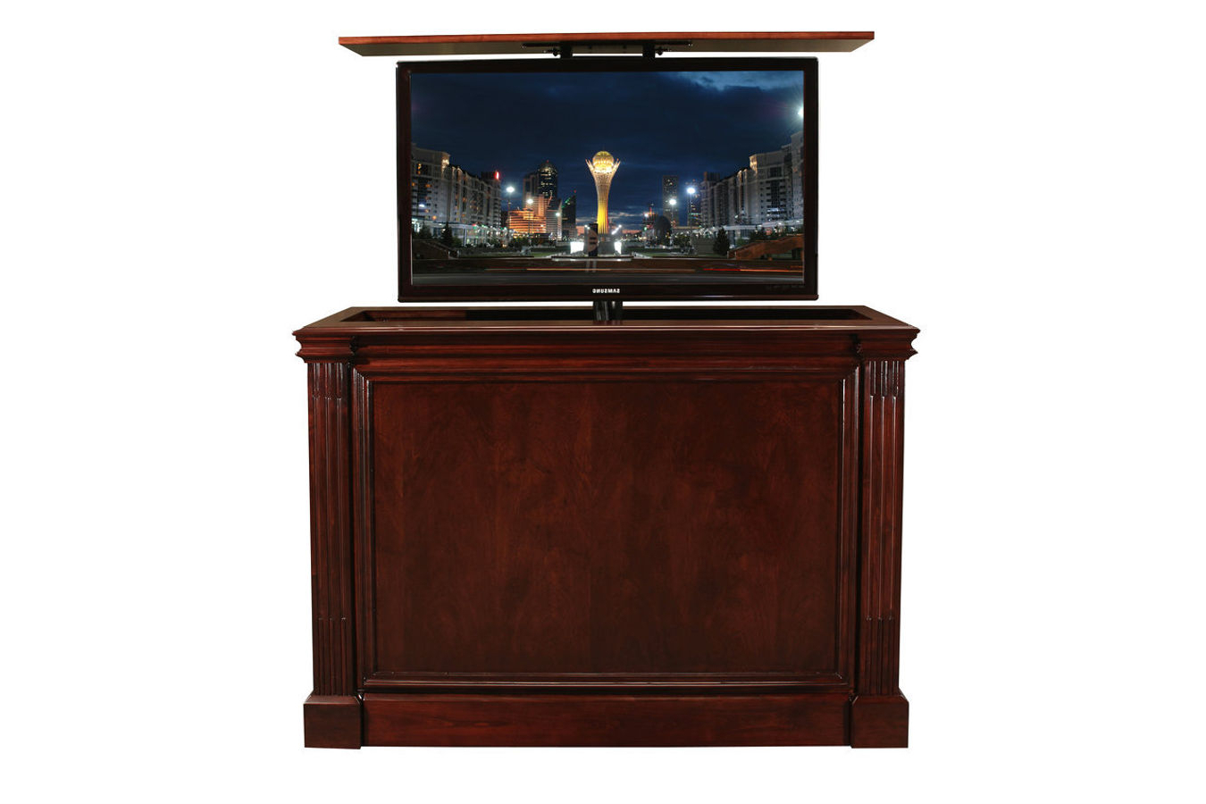 Pop Up Tv Stand | Ritz Cabernet Custom Retractable Tv Stand Within Vista 68 Inch Tv Stands (View 16 of 20)
