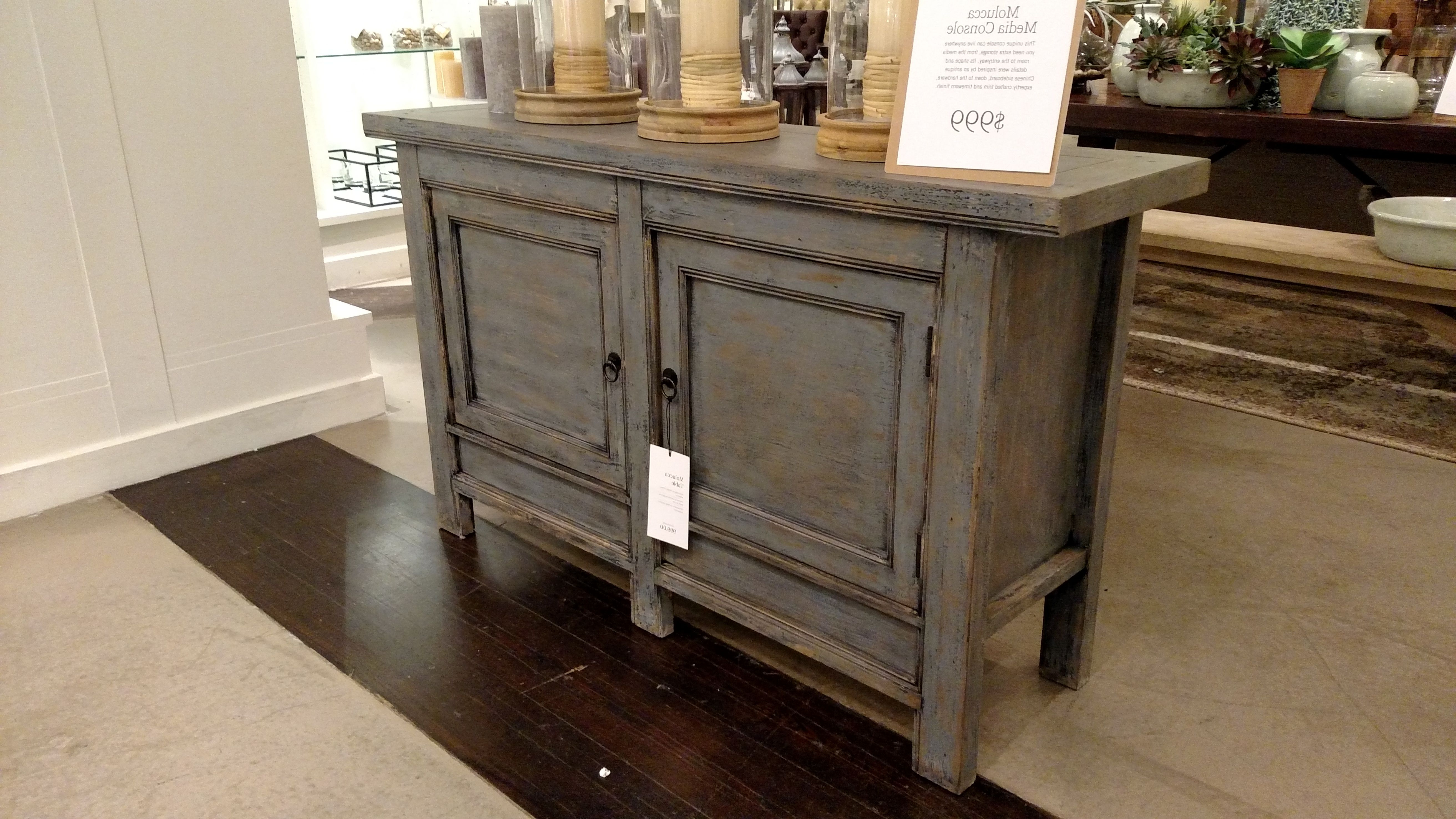 Pottery Barn Molucca Media Console Table Blue Distressed Paint In Natural Wood Mirrored Media Console Tables (View 13 of 20)
