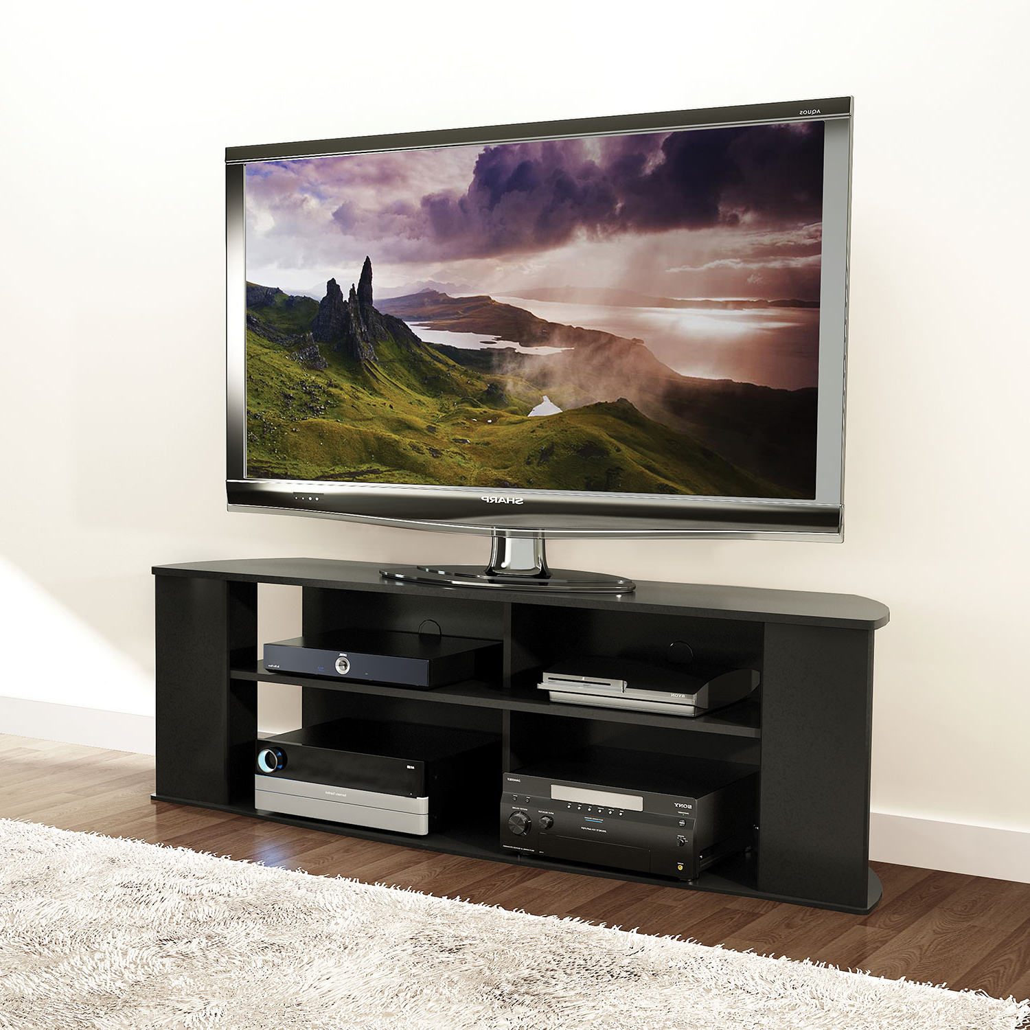 """Prefac Essentials 60"""" Tv Stand – Black : Tv Stands – Best Buy Canada For Valencia 60 Inch Tv Stands (Gallery 7 of 20)"""