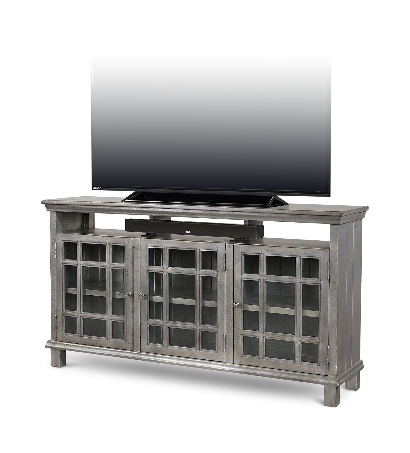 Preferences Metallic 65″ Media Console | Boho Chic | Pinterest With Regard To Sinclair Grey 54 Inch Tv Stands (View 10 of 20)