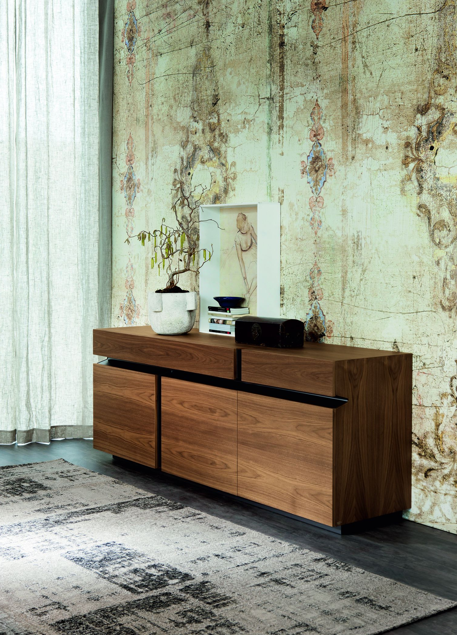 Prisma | Glass Shelves, Drawers And Shelves Inside Burnt Oak Metal Sideboards (View 11 of 20)