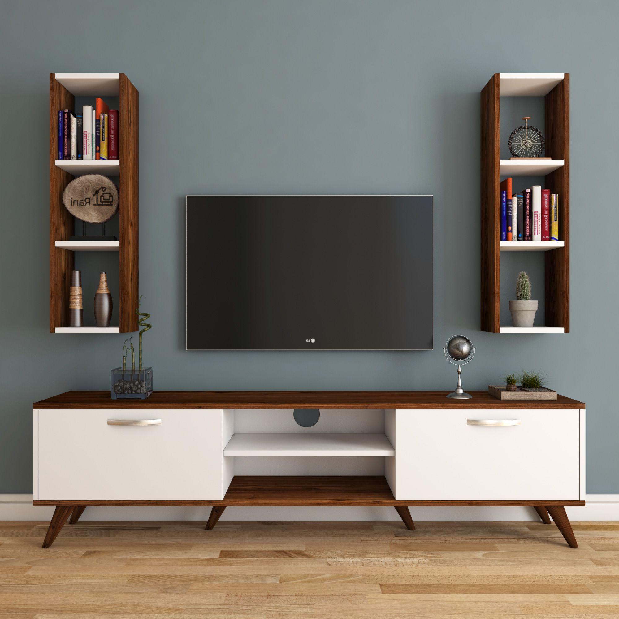 Rani A9 Duvar Raflı Duvara Monte Dolaplı Tv Ünitesi Kitaplıklı Tv In Ducar 84 Inch Tv Stands (View 13 of 20)