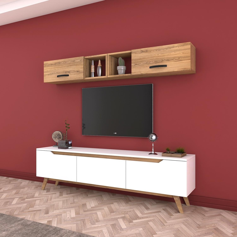 Rani D1 Duvar Raflı Kitaplıklı Mdf Tv Ünitesi Duvara Monte Fiyatı Inside Ducar 64 Inch Tv Stands (View 16 of 20)