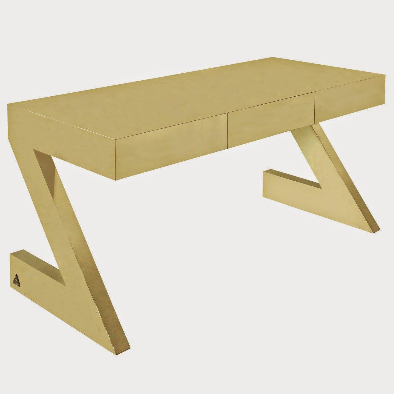 Rare And Important 'z Desk' In Brassgabriella Crespi, Signed In Phillip Brass Console Tables (View 18 of 20)