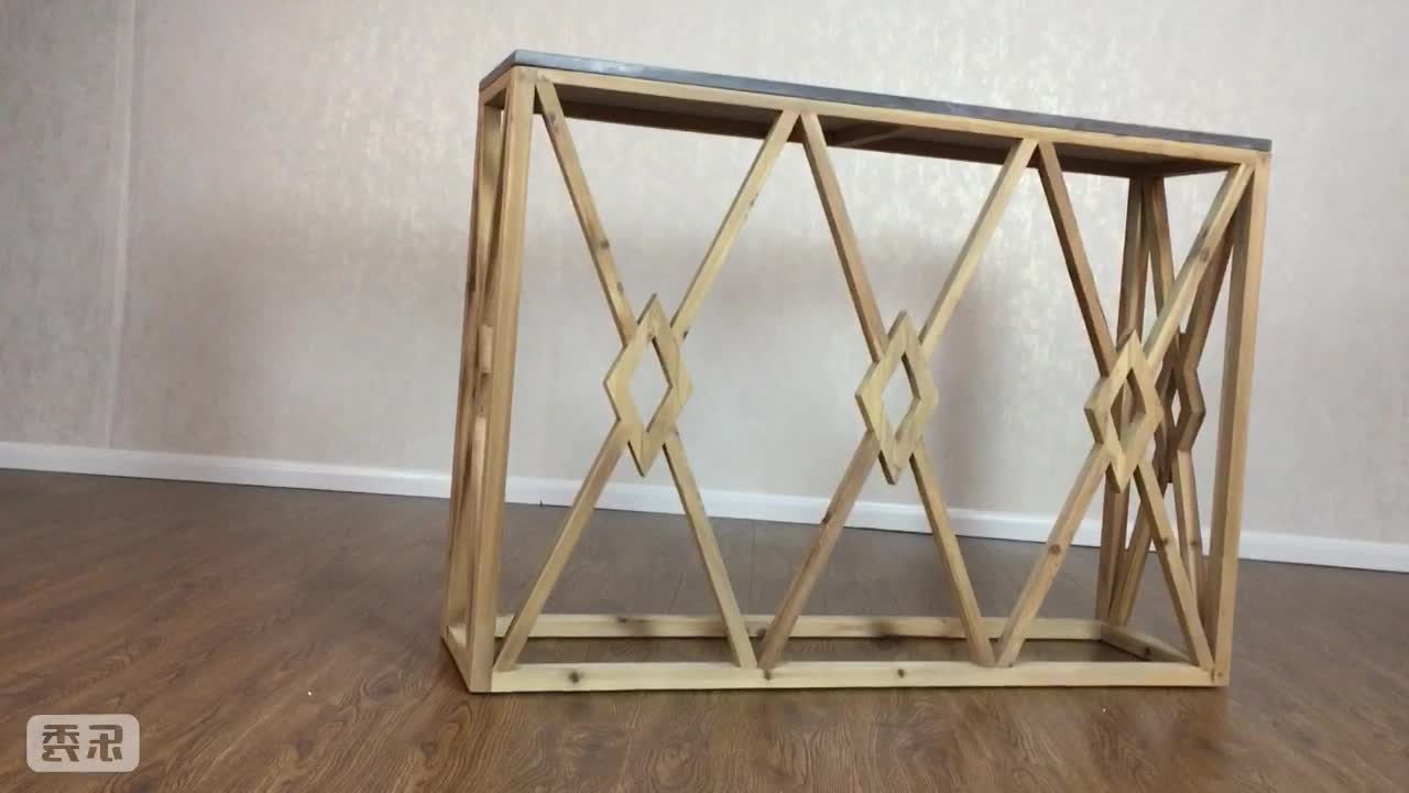 Reclaimed Wood Console Table With Bluestone Top – Buy Stone Top Regarding Bluestone Console Tables (View 10 of 20)