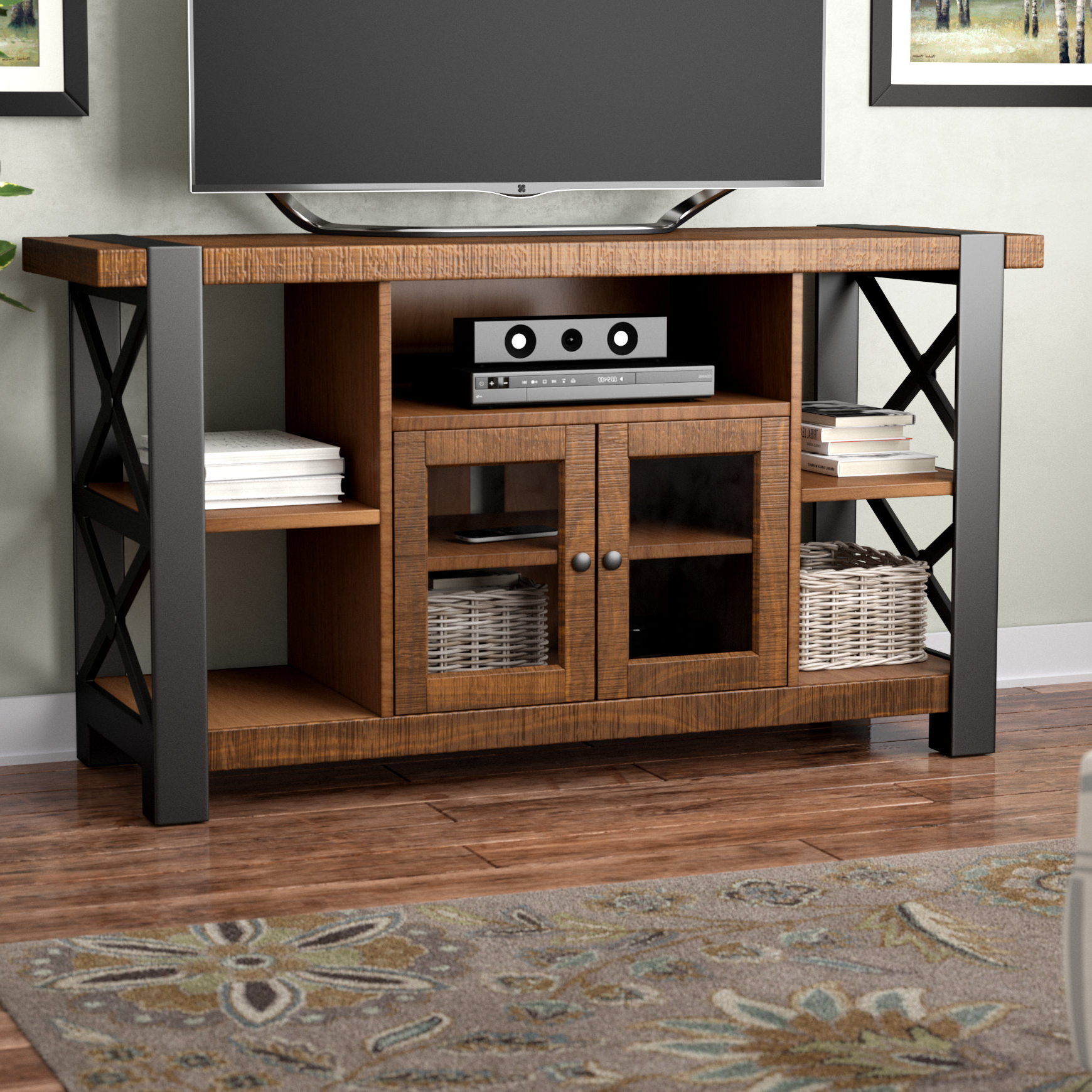 "Red Barrel Studio Monmouth Tv Stand For Tvs Up To 55"" & Reviews With Regard To Valencia 70 Inch Tv Stands (View 5 of 20)"