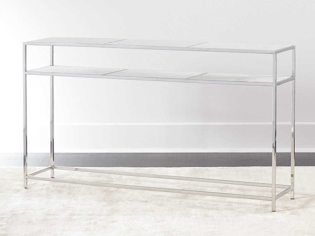 Regina Andrew Echelon Etched Marble With Polished Nickel 54''w X 12 Inside Echelon Console Tables (View 15 of 20)