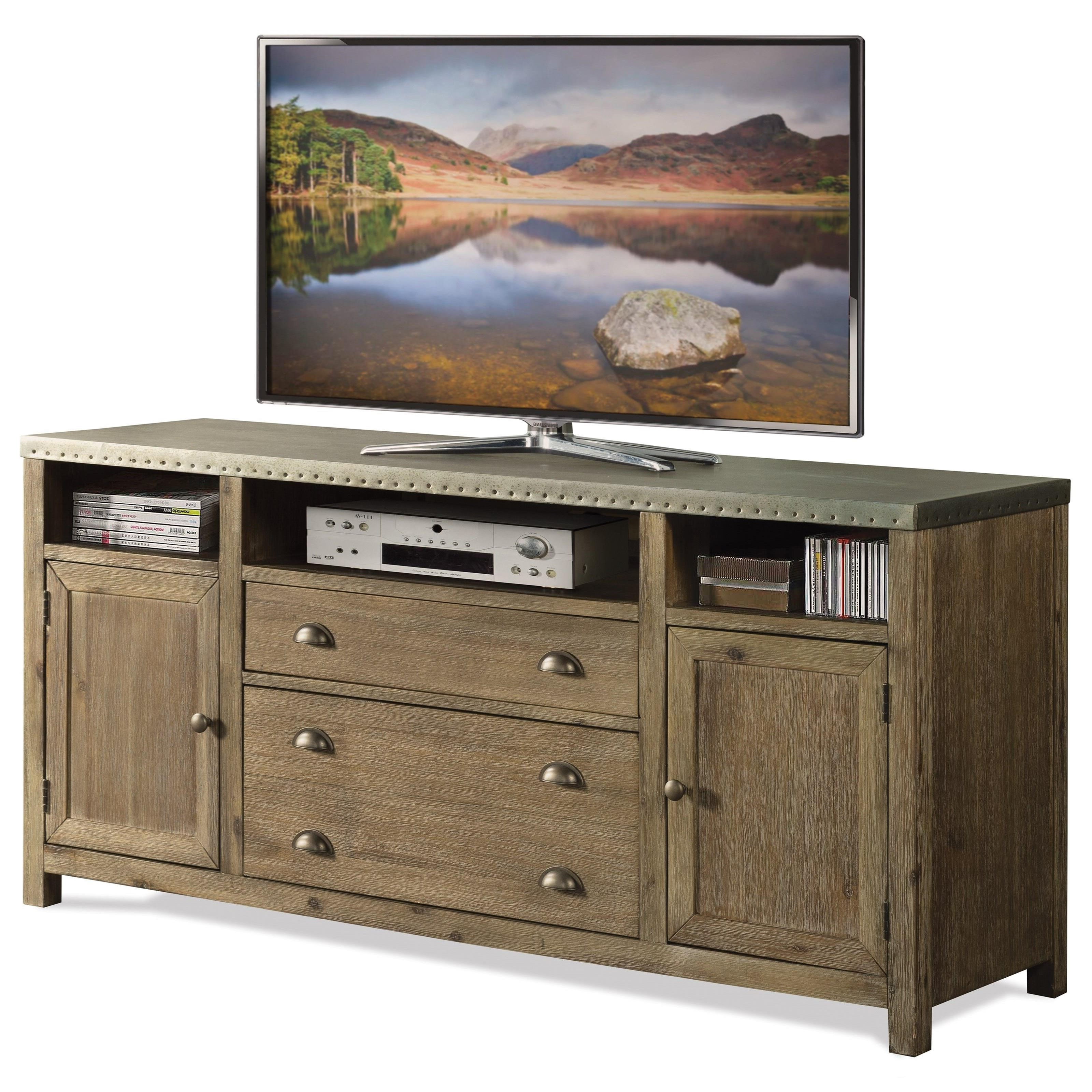 Riverside Furniture Liam 71142 Industrial 64 Inch Tv Console With Pertaining To Rowan 64 Inch Tv Stands (View 12 of 20)