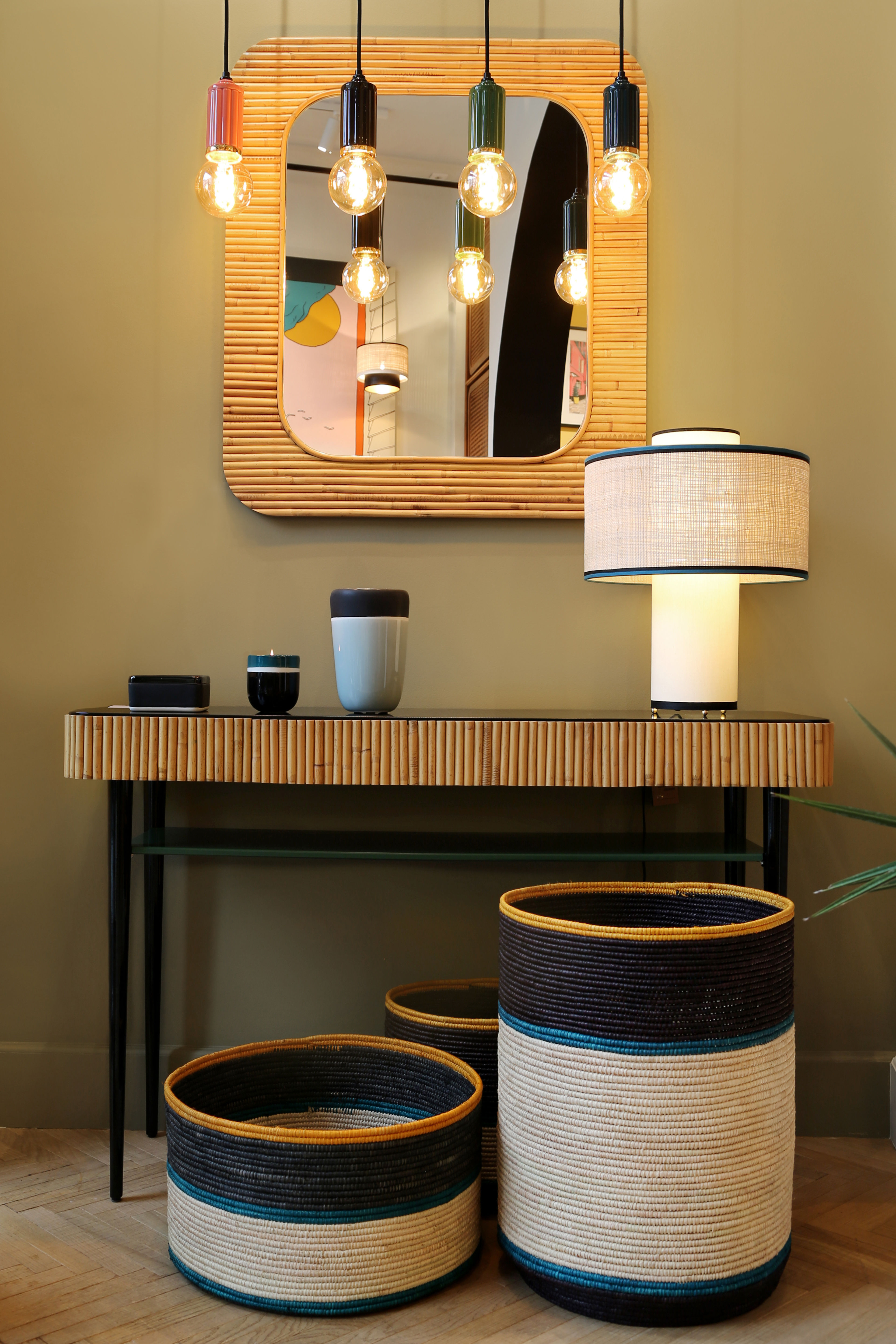 Riviera Console – / Rattan – Drawer Black & Green / Natural Rattan With Natural Cane Media Console Tables (View 9 of 20)