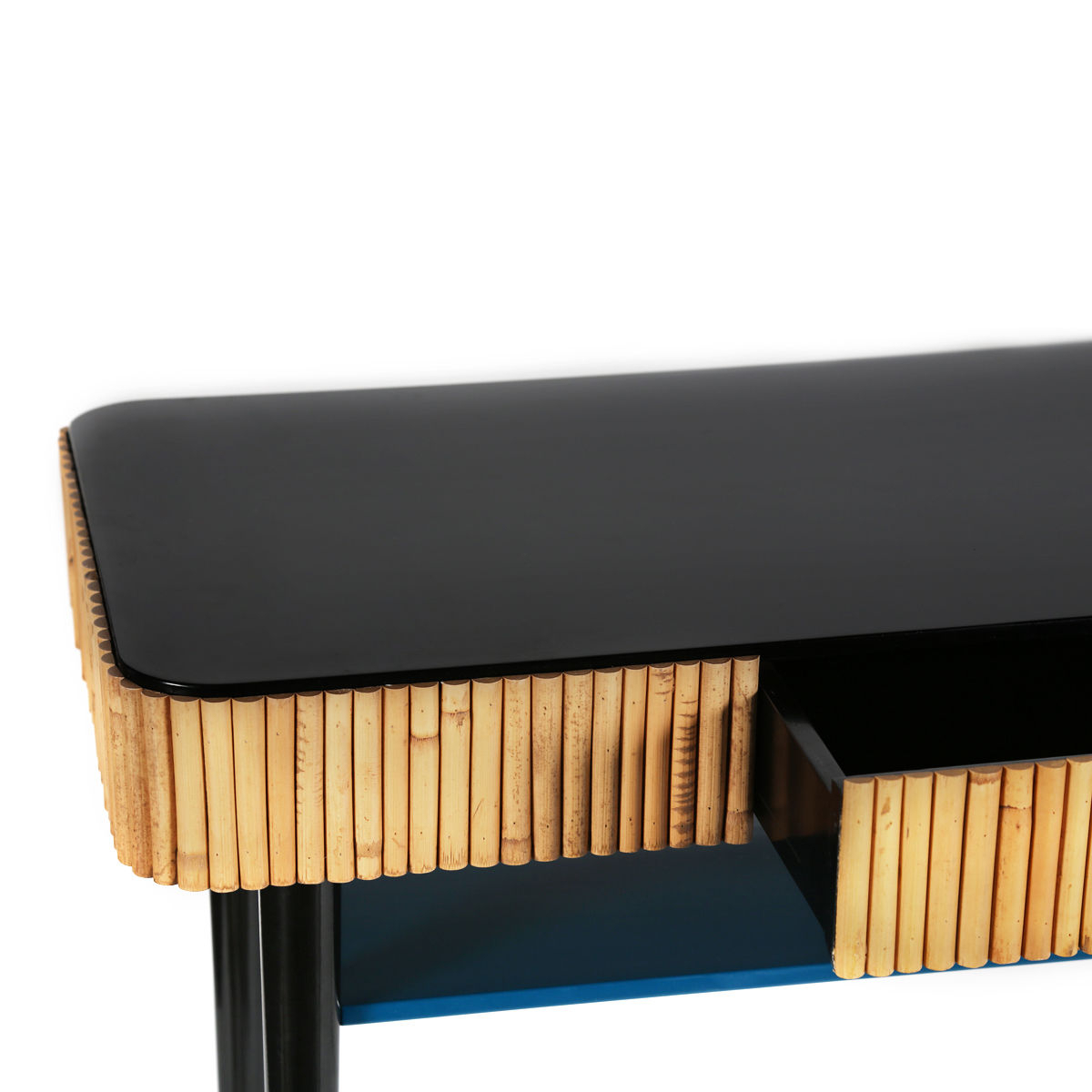 Riviera Console – / Rattan – Drawer Sarah Blue & Black / Natural Intended For Natural Cane Media Console Tables (View 15 of 20)