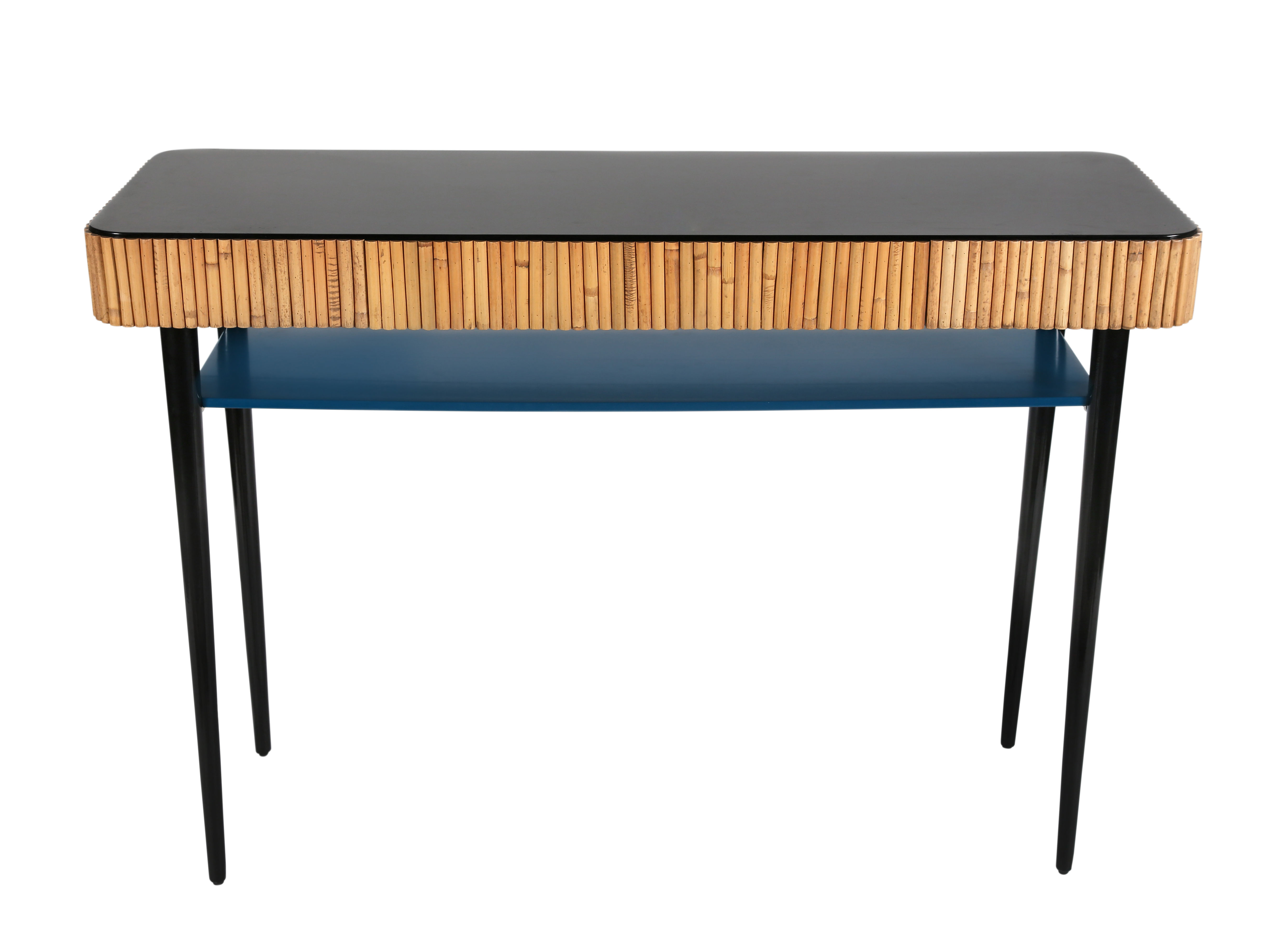 Riviera Console – / Rattan – Drawer Sarah Blue & Black / Natural Regarding Natural Cane Media Console Tables (View 10 of 20)