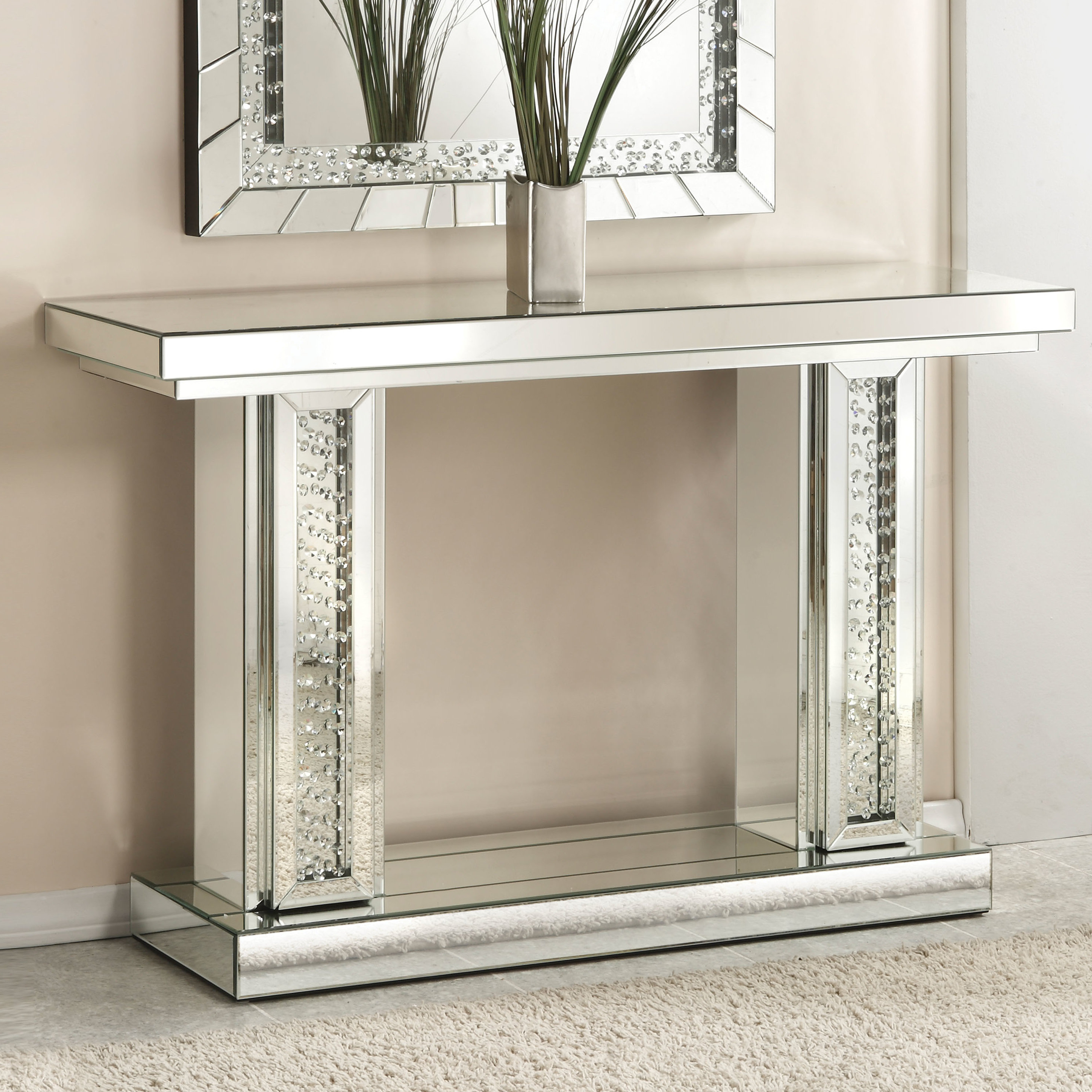 Rosdorf Park Longo Rectangle Mirrored Console Table & Reviews | Wayfair With Regard To Natural Wood Mirrored Media Console Tables (View 2 of 20)