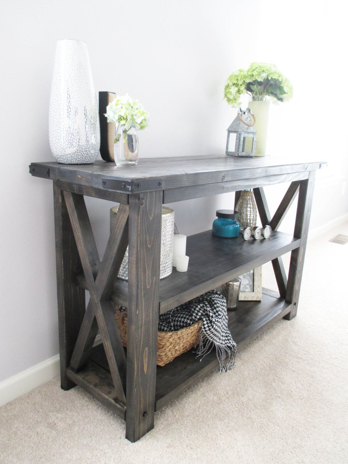 Rustic X Distressed Handmade Console / Media Table / Bookshelf – 48 For Walters Media Console Tables (Gallery 2 of 20)