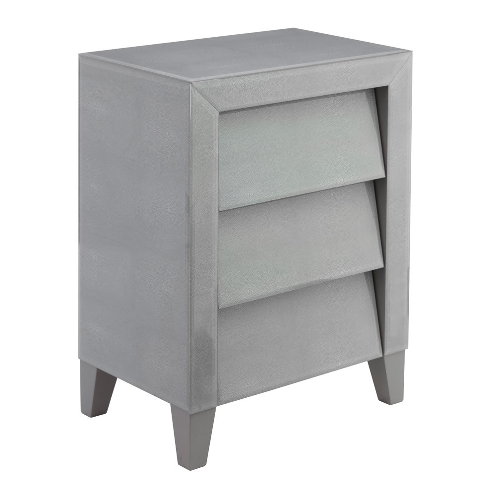 Rv Astley Colby Soft Grey Shagreen Bedside Table | Houseology Throughout Grey Shagreen Media Console Tables (View 16 of 20)