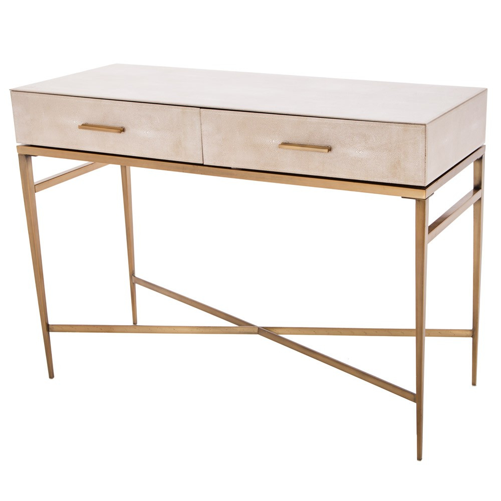 Rv Astley Esta Biscuit Shagreen 2 Drawer Console Table   Houseology Regarding Faux Shagreen Console Tables (View 3 of 20)
