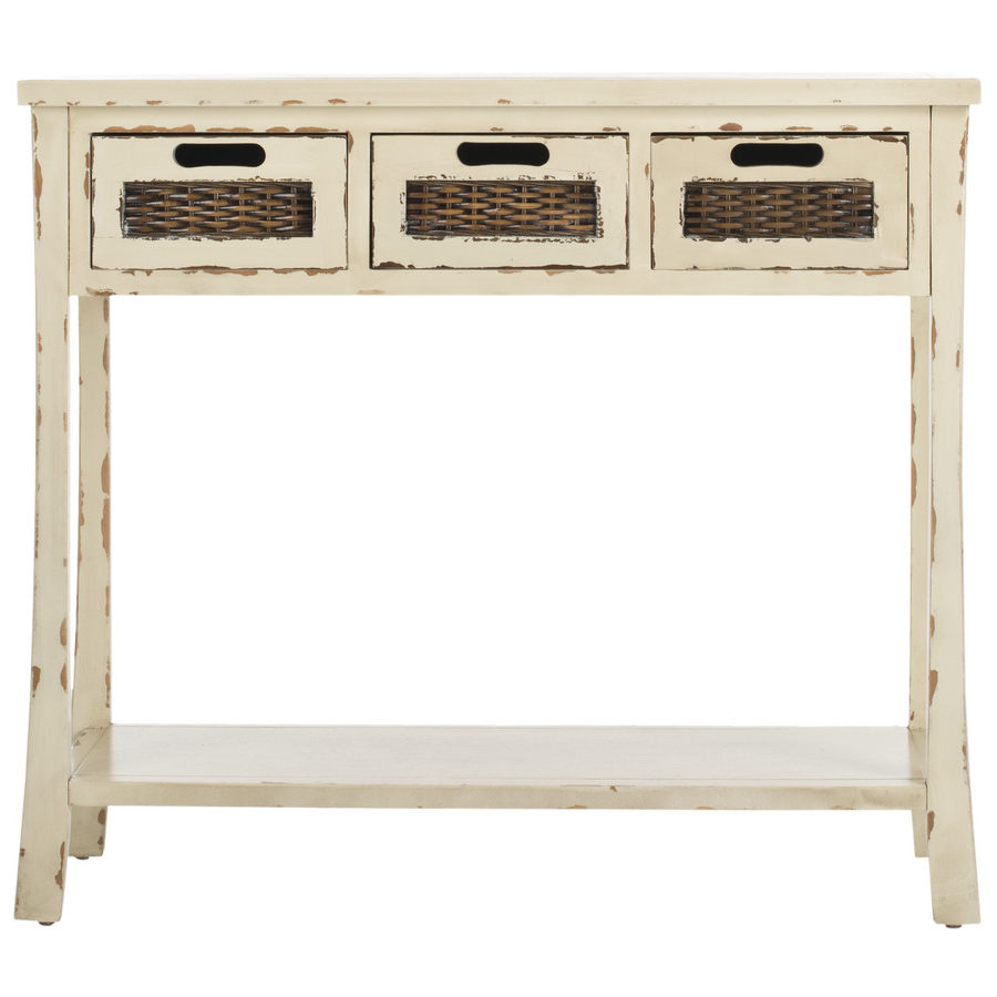 Safavieh Autumn Vintage Cream Wood Casual Console Table At Lowes With Antique White Distressed Console Tables (View 18 of 20)