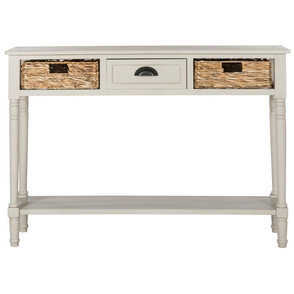 Safavieh Christa Vintage Gray Storage Console Table Amh5737D – The In Antique White Distressed Console Tables (Gallery 15 of 20)