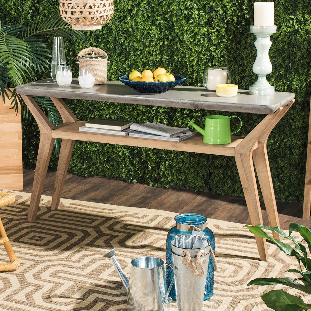 Safavieh Concrete & Wood Indoor / Outdoor Storage Console Table In With Regard To Yukon Grey Console Tables (View 11 of 20)