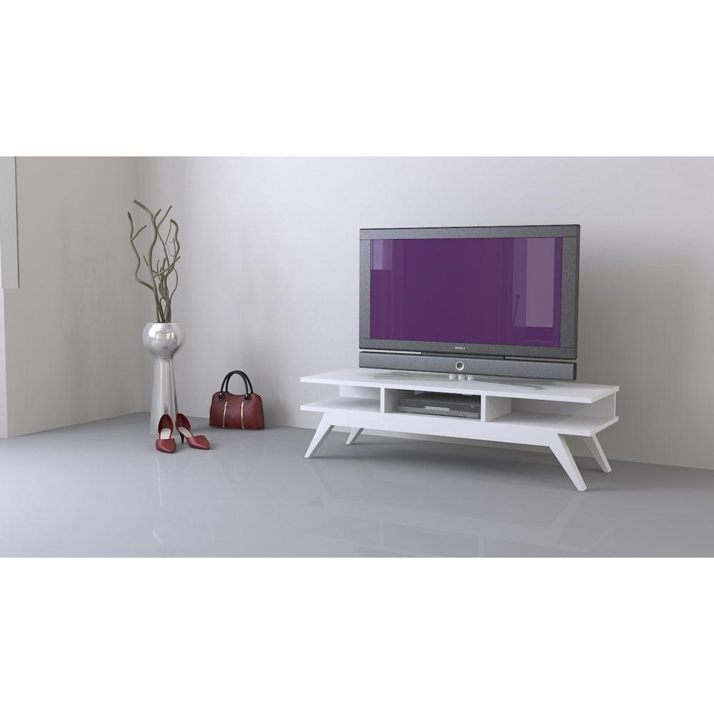 Sanal Mobilya New Retro Tv Sehpası Beyaz | Tekzen Pertaining To Cato 60 Inch Tv Stands (View 20 of 20)