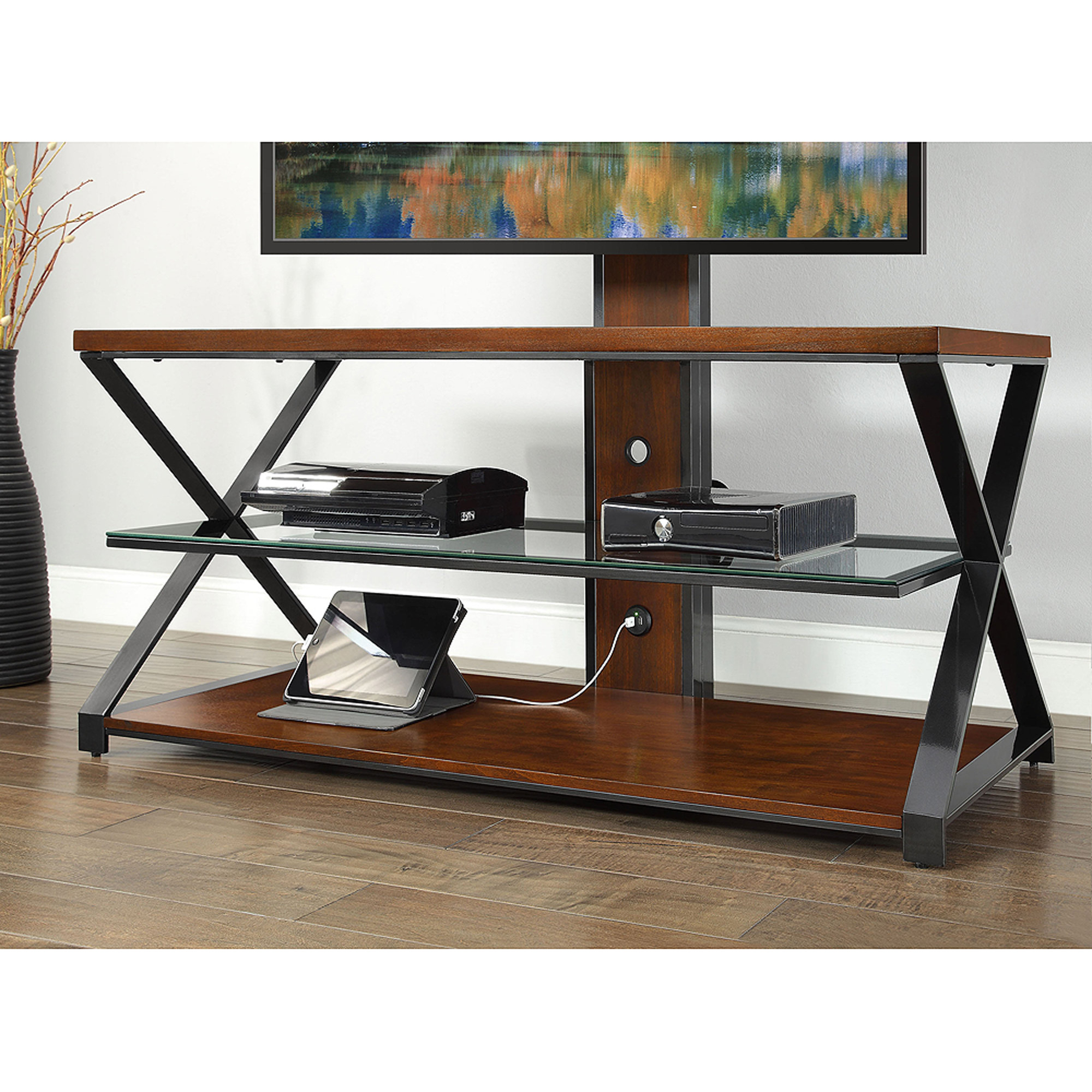 Sarah Tv Stands: Jaxon 3 In 1 Cognac Tv Stand For Tvs Up To 70'' Pertaining To Jaxon 65 Inch Tv Stands (View 15 of 20)